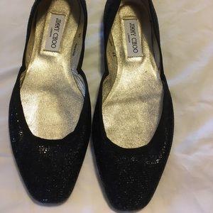 Jimmy choo black glitter fabric walkers